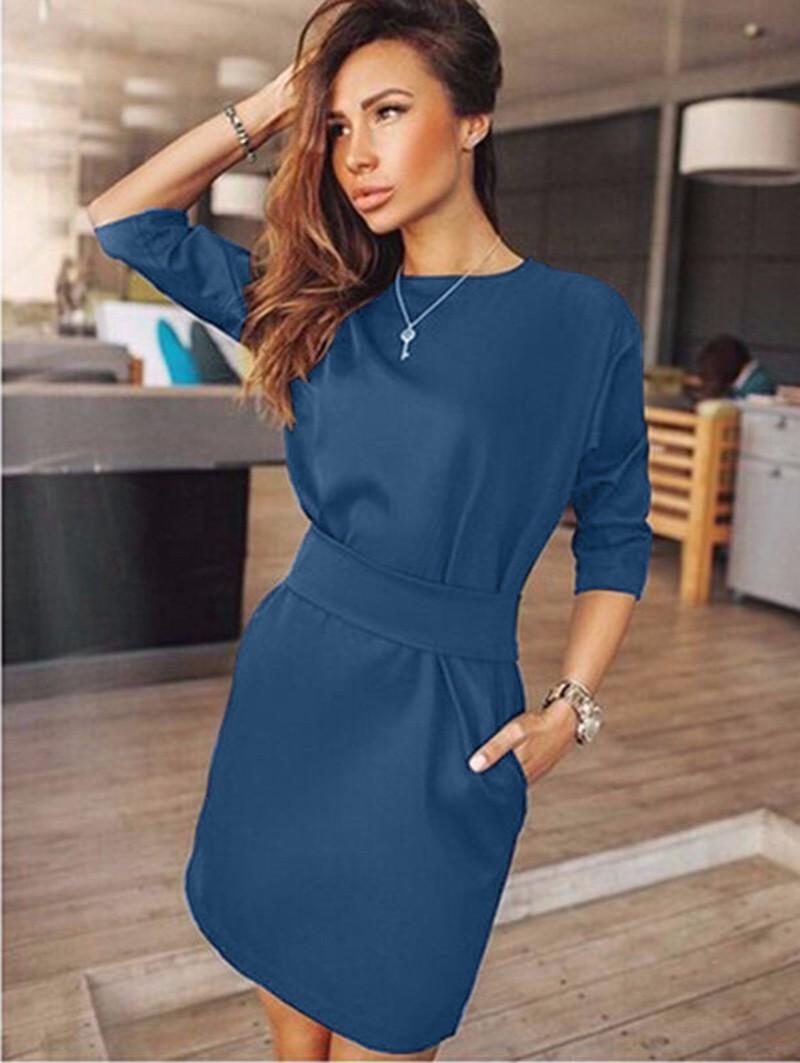 2017 jesień dress kobiety moda casual mini dress solid color krótki rękaw szyi kobiety dress dwie boczne kieszenie czarne sukienki 11