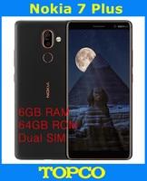 Nokia 7 Plus Original Entsperrt Android Handy Octa Core 4G LTE 6.0 ''Dual 12MP WIFI GPS 6GB RAM 64GB ROM Dual SIM