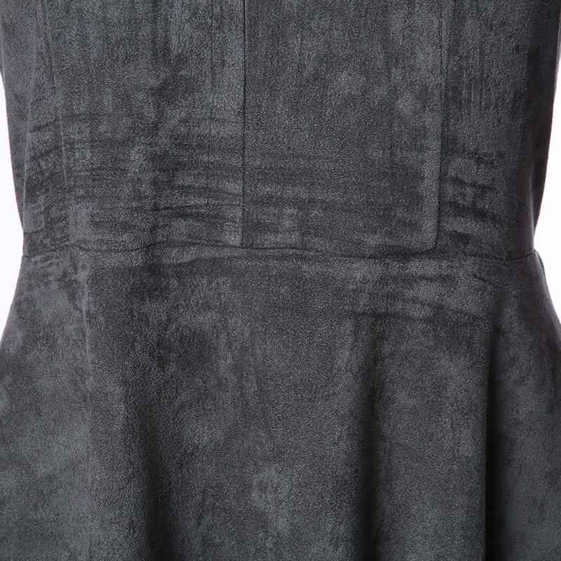 Gray Bandage A-Line Off Shoulder Backless Solid Sleeveless Mini Dress 7