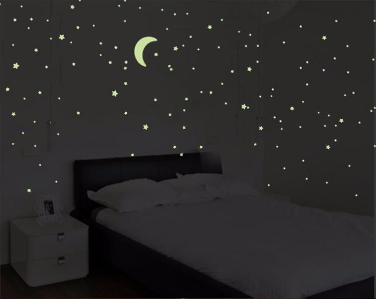 Darmowa Wysyłka Nowy Gorący 100 sztuk 3D Gwiazdy Świecą W Dark Luminous Jarzeniowe Plastikowe Naklejki Ścienne Living Home Decor Kids pokoje 13