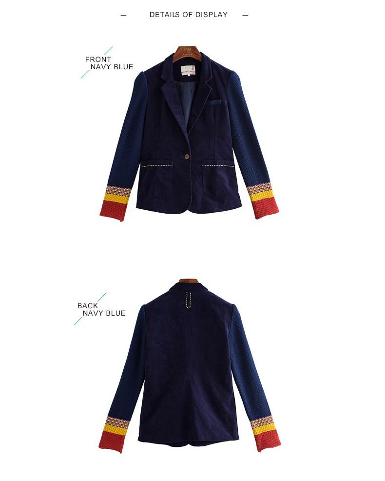 Toyouth kobiet jeden przycisk marynarka krótki projekt bawełny z długim rękawem szczupła marynarka kolor bloku patchwork kobiety blazers 8