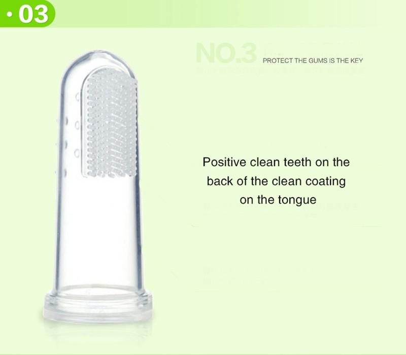 Newbron Pozycji Dziecka Dzieci Opieka Stomatologiczna Gum Zęby Wyczyść Masażu Miękkie Silikonowe Dla Niemowląt Palec Szczoteczka Szczotka 6