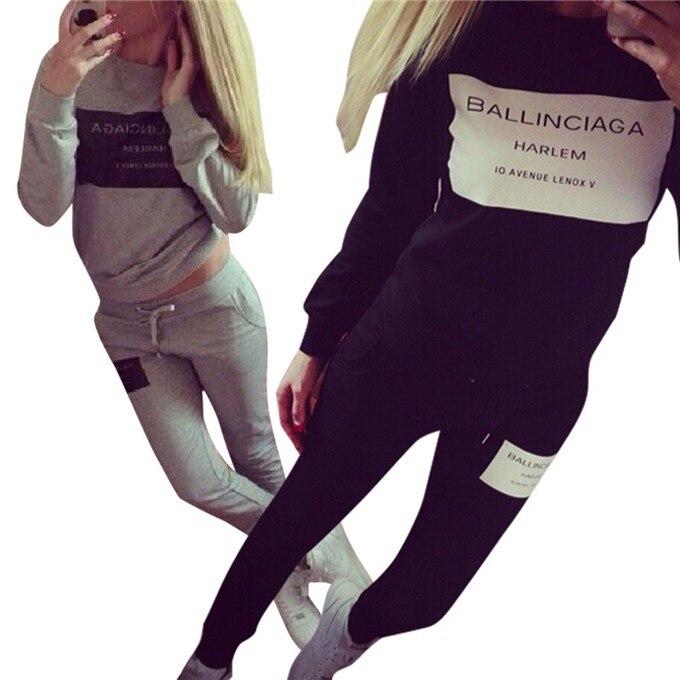 2 Sztuk Zestaw Kobiety Chusta Bluza + Spodnie Dresowe Spodnie Dorywczo Sportwear Garnitur Potu 4