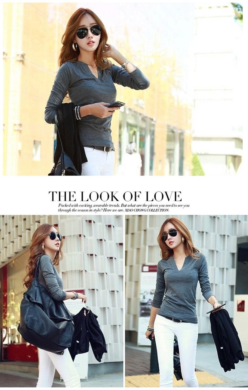 2017 stałe 14 kolory Dekolt Bluzki Sexy Szczupła Dzianiny Długi rękaw chemise femme koreański bluzki dla kobiet koszula clothing góry bluzka 11
