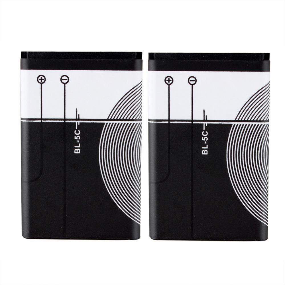 2 sztuk brand new wymiana 1020 mah bateria bl-5c bateria do nokia 1112 1208 1600 1100 1101 1