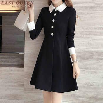 3972d69f16c6 Vestido negro con cuello blanco mujer túnica de manga larga vestido