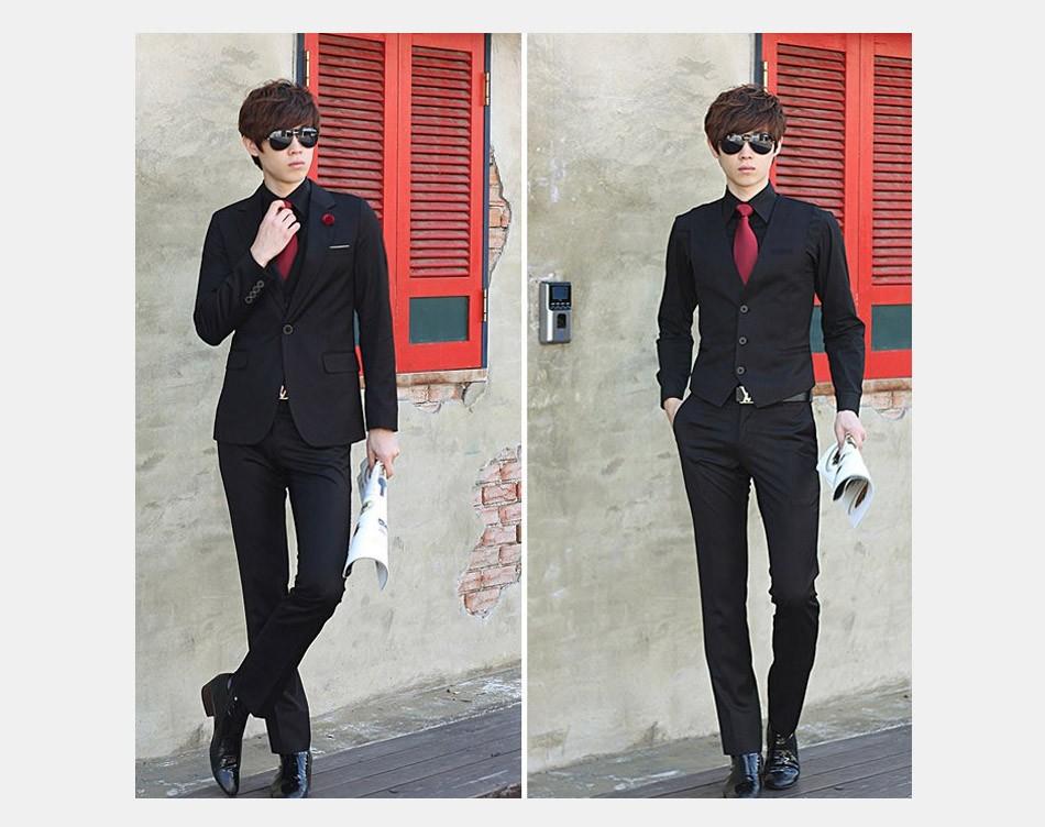 (Kurtka + Spodnie + Tie) luksusowe Mężczyzn Garnitur Mężczyzna Blazers Slim Fit Garnitury Ślubne Dla Mężczyzn Kostium Biznes Formalne Party Niebieski Klasycznej Czerni 8