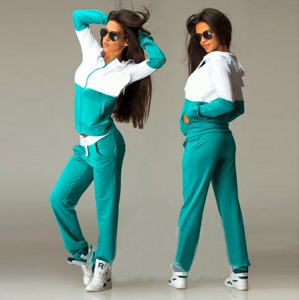 2016 Nowa Wiosna Odzież Przyczynowego 2 Sztuk Kobiety Bluzy z kapturem Bluza Dresy Garnitury Zestaw Bawełna Patchwork Kieszeń Plus Spodnie Dresowe 7