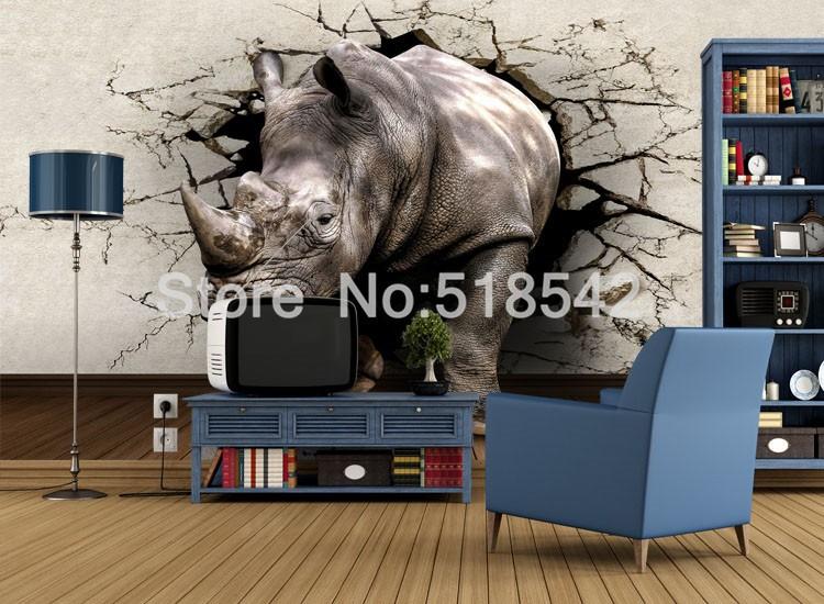Dostosowane fototapety 3d realistyczne mural nosorożec zwierząt lew słonie włókniny sypialnia mural home decor tapety ścienne 3d 7