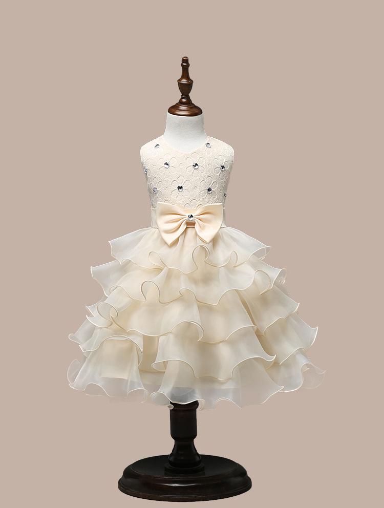 0-7 Years Mutlti Layer White Pink Flower Girl Dress 2
