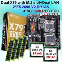 Desktop-motherboard bündel HUANAN ZHI dual X79 motherboard mit M.2 NVMe SSD slot CPU Intel Xeon E5 2690V2 3,0 GHz RAM 32G (4*8G)