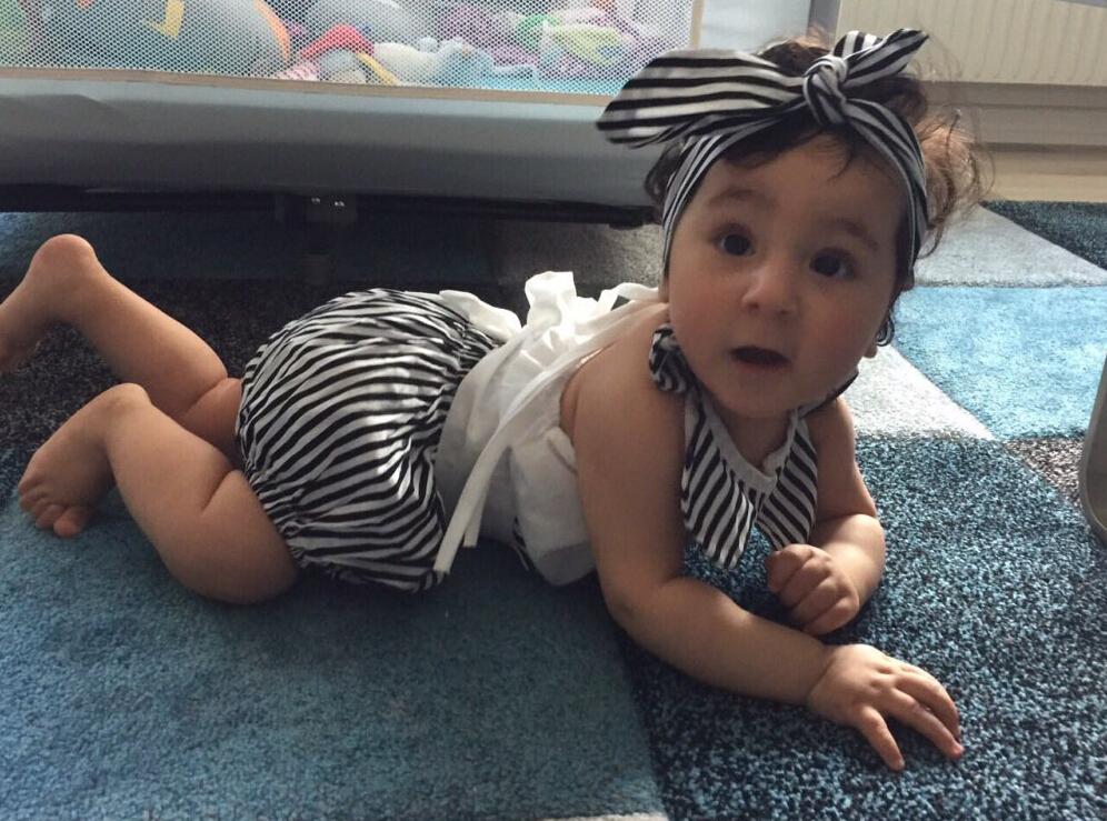 Newborn Baby Girl Body Bez Rękawów, Topy + Spodenki W Paski z Pałąkiem na głowę 3 sztuk Bottoms Stroje Sunsuit UK Cute Baby Girl Odzież 2