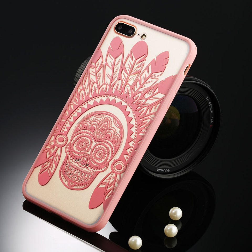 Sexy retro floral phone case dla apple iphone 7 6 6 s 5 5S SE Plus Koronki Kwiat Dysk PC + TPU Przypadki Back Cover Capa Dla iPhone7Plus 14