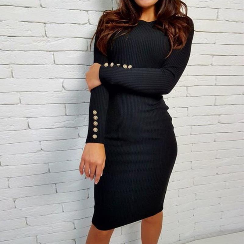2017 fashion party dress kobiety sexy płaszcza bodycon midi dress stałe z długim rękawem z dzianiny pakiet hip dress vestidos s-xl lj7338e 3