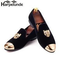 Harpelunde Animal Buckle Men Dress Shoes Black Velvet Loafers With Gold Cap Toe Size 6-14