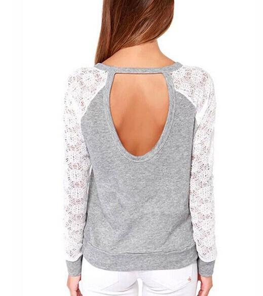 Wiosna Kobiet Bluzy Jesień Backless Haft Lace Casual Bluzy Kobiet Bluzy Z Długim Rękawem Topy Damskie 4