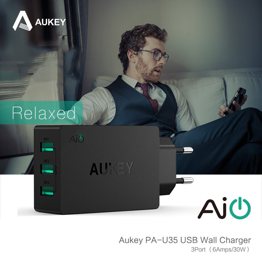 Aukey 5v6a uniwersalna ładowarka podróżna usb adapter ue wtyczką amerykańską ściany inteligentna ładowarka do telefonu komórkowego iphone tablet xiaomi red htc sony 4