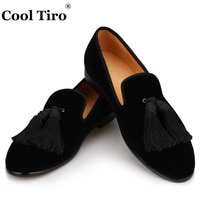 Cool Tiro Men Handmade Shoes Black velvet Loafers Men's Moccasins Tassels Slippers Wedding Dress Shoes Casual Flats Real Leather