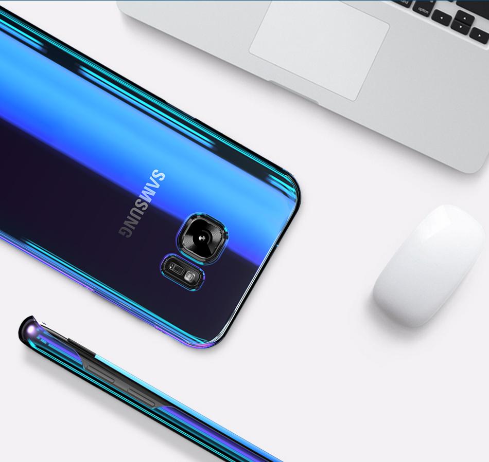Floveme cool blue ray plastic case do samsung galaxy s7 s8 s6 S7 s8 Plus Krawędzi Gradient Kolor Platerowane Pokrywa Powrót Ochronna Shell 5