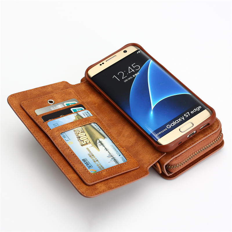 Wielofunkcyjny portfel skórzany case do samsung s4 s5 s6 s7 edge S8 NOTE4 NOTE5 Zipper Torebka Pouch Sprawach Telefonów Lady Torebka Okładka 10