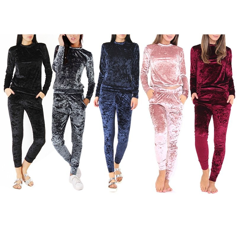 WJ Seksowne Kobiety Dres Ustawia 2017 Nowy Jesień Zima Moda Aksamitne długi Rękaw Bluzy Topy + Spodnie Wąskie Garnitury Femme 2 Sztuka Zestaw 1