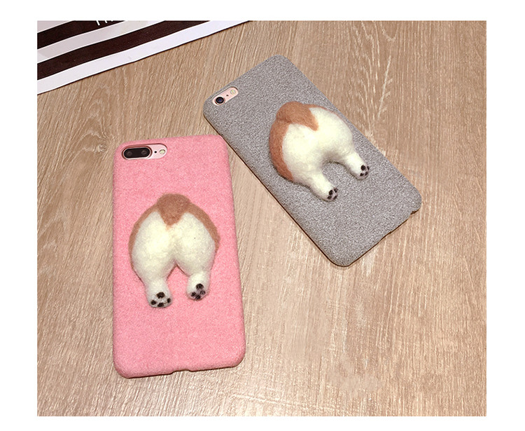 Corgi case handmake igły filcu wełnianego słodkie cat dog tyłek tyłek pokrywa dla apple iphone 6 6s plus iphone 7 7 p miękkie telefon komórkowy case 4