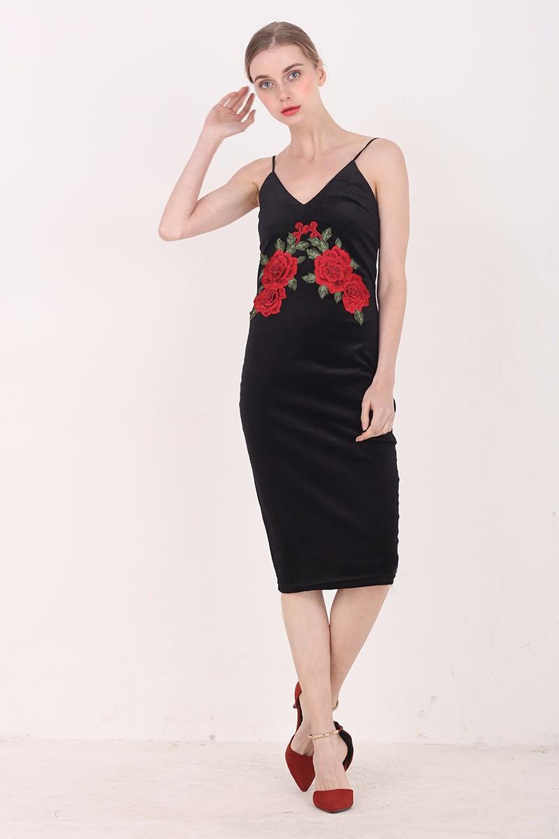 Red Flower Embroidered Black Velvet Shoulder-Straps Bodycon Dress 9