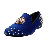 Harpelunde Mens Blue Dress Shoes Spikes Velvet Loafers 3D Animal Buckle Flats