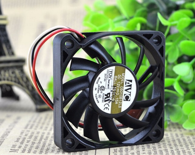 Wholesale: AVC 60*60*10 6CM 12V 0.15A C6010B12LS three wire double ball CPU fan