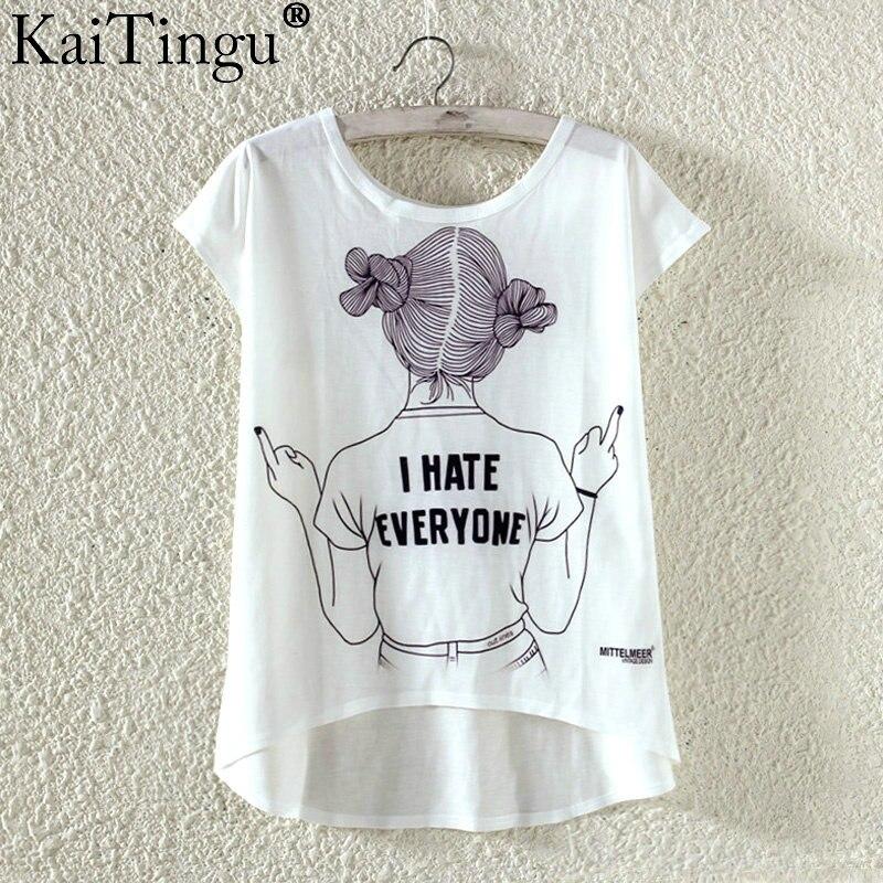 Kaitingu kawaii śliczne t koszula moda lato harajuku wysoki niski styl cat print t-shirt z krótkim rękawem t shirt kobiet topy plus size 11
