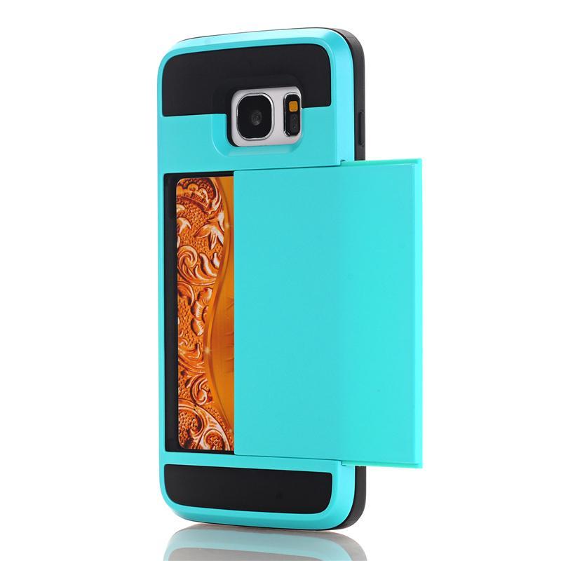 Zbroja slajdów credit card case do samsung galaxy s3 s4 s5 S6 S7 krawędzi Slot Portfel Shock Proof Skóry Twardego Plastiku + TPU Pokrywy Shell 18