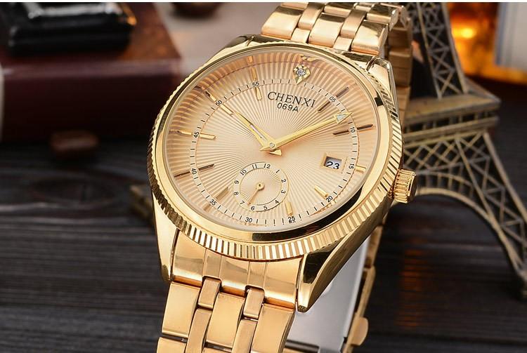 Chenxi złoty zegarek męskie zegarki top marka luksusowe znani zegarek męskie złoty zegarek kwarcowy kalendarz zegar relogio masculino 10