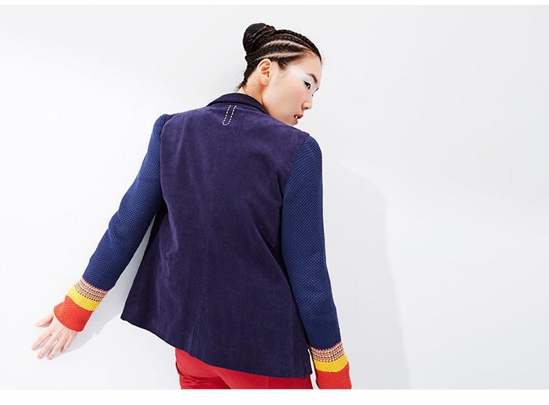 Toyouth kobiet jeden przycisk marynarka krótki projekt bawełny z długim rękawem szczupła marynarka kolor bloku patchwork kobiety blazers 7