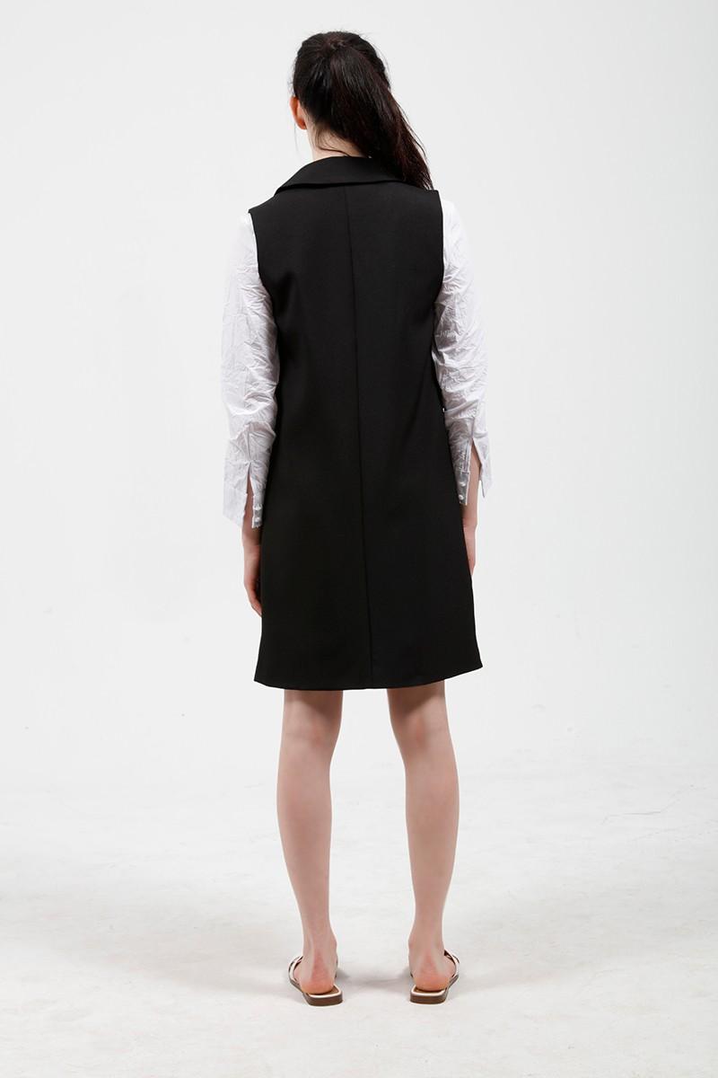 2017 wiosna nowy mody długie kieszenie turn-dół collar otwórz stitch pantone niebieski różowy beżowy czarny żakiet kamizelka bez rękawów kurtki 24