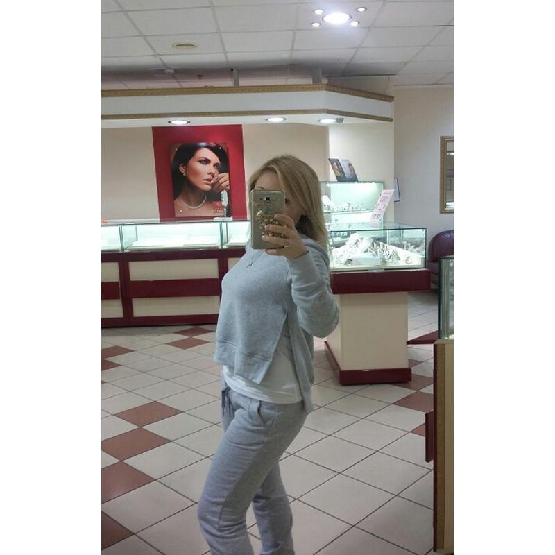 2017 Jesień Zima Kobiet Bawełna Dres 2 Sztuka Zestaw Odzież Stałe Sportwear Garnitur Kobieta 12