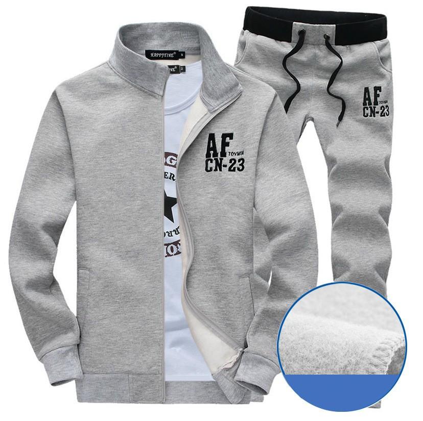 Nowy Cienki Sweterek Zamek Marka Sporta Kostiumu Dres Mężczyzn AF Bluzy Bluza + Spodnie Jogging Kostium 2 sztuk Zestaw Plus rozmiar M-3XL 3