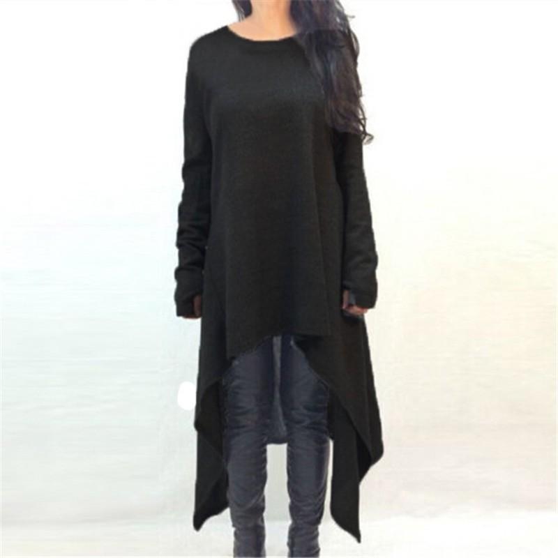 2017 jesień kobiety casual loose dress o neck z długim rękawem z dzianiny sweter vestidos nieregularne hem połowy łydki suknie plus rozmiar s-3xl 5