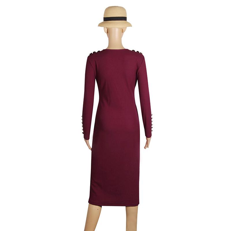 2017 fashion party dress kobiety sexy płaszcza bodycon midi dress stałe z długim rękawem z dzianiny pakiet hip dress vestidos s-xl lj7338e 5