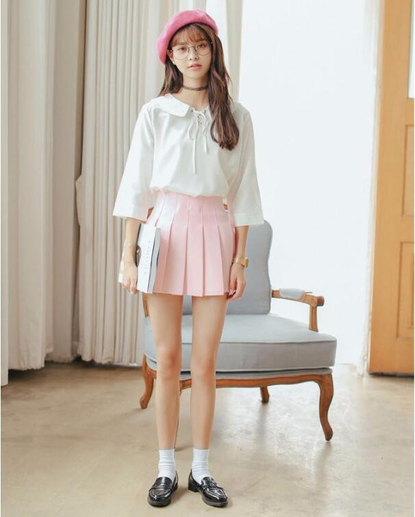 Elegant half pleated high waist mini skirt 7