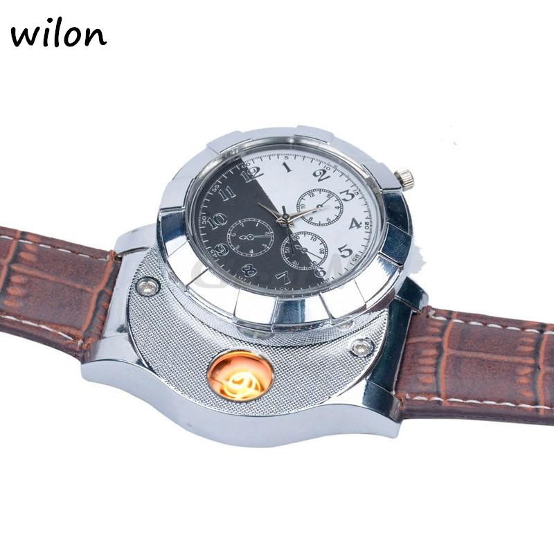 Moda F667 Akumulator USB Zapalniczki Zegarki Elektroniczne Bezpłomieniowe Zapalniczki Wiatroszczelna męska Casual Kwarcowe Zegarki Na Rękę 2