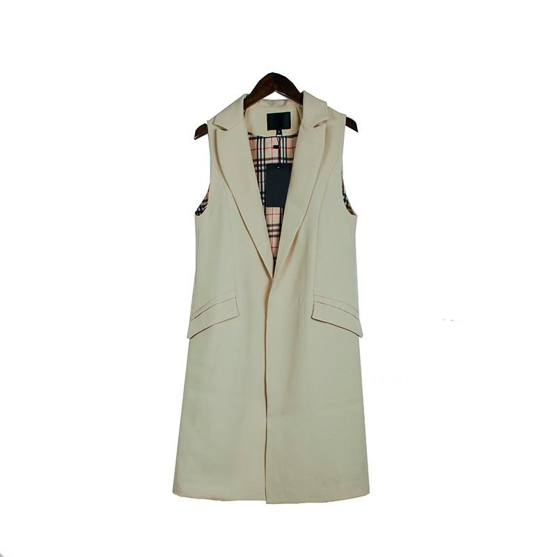2017 wiosna nowy mody długie kieszenie turn-dół collar otwórz stitch pantone niebieski różowy beżowy czarny żakiet kamizelka bez rękawów kurtki 28