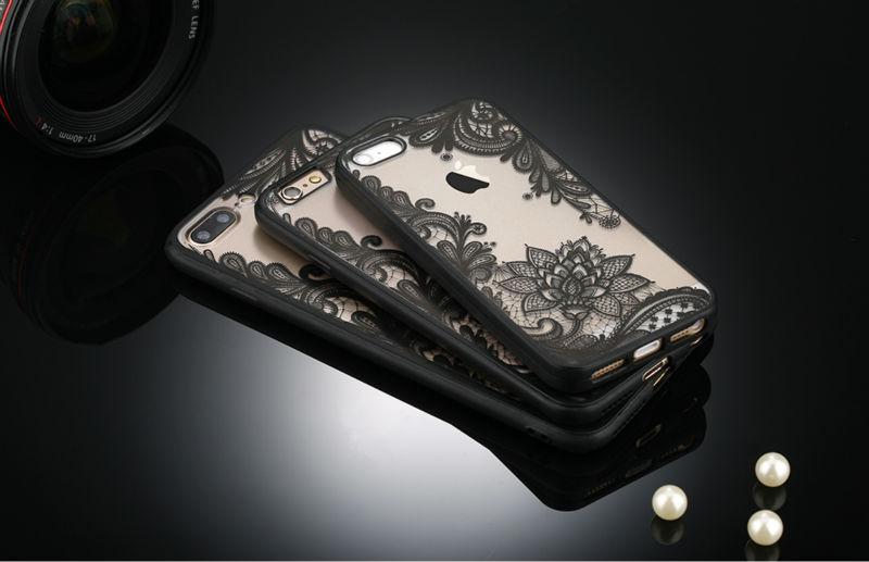 Sexy retro floral phone case dla apple iphone 7 6 6 s 5 5S SE Plus Koronki Kwiat Dysk PC + TPU Przypadki Back Cover Capa Dla iPhone7Plus 1