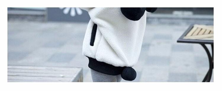 2017 Korea Zima Puszyste Panda Ucha Kobiety Swetry z Wełny Kaptur Batwing rękaw Bluza Dorywczo Słodkie Znosić sudadera mujer 7