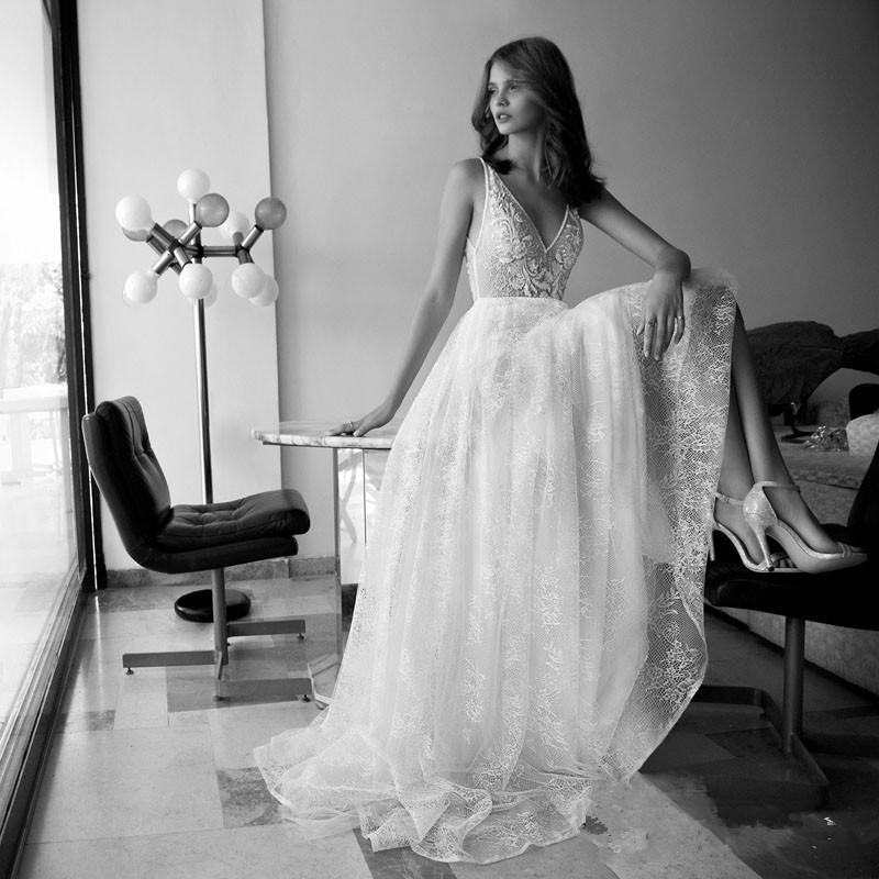 Deep V-Neck Unique Lace Beaded A-Line Boho Wedding Dress 1
