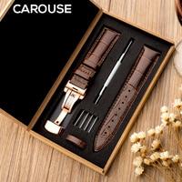 Carouse-정품 시계 밴드 18mm 19mm 20mm 21mm 22mm 24mm, 티쏘 세이코 Tissot seiko용 송아지 가죽 시계 밴드 악어 그레인 시계 스트랩