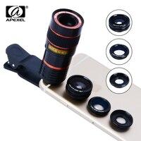 4 IN 1 Objektiv kit 8x tele Zoom Fisheye Weit Makro Kamera Telefon Objektiv mit universal clip für iPhone 6 7 plus Samsung s7 Note 5