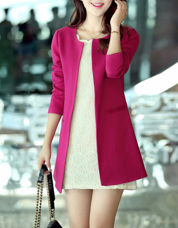 2016 Kobiety Długi Blezer Kurtki 4 Kolory New Fashion Solidna Casual Plus Rozmiar Płaszcz Blazer Feminino 5