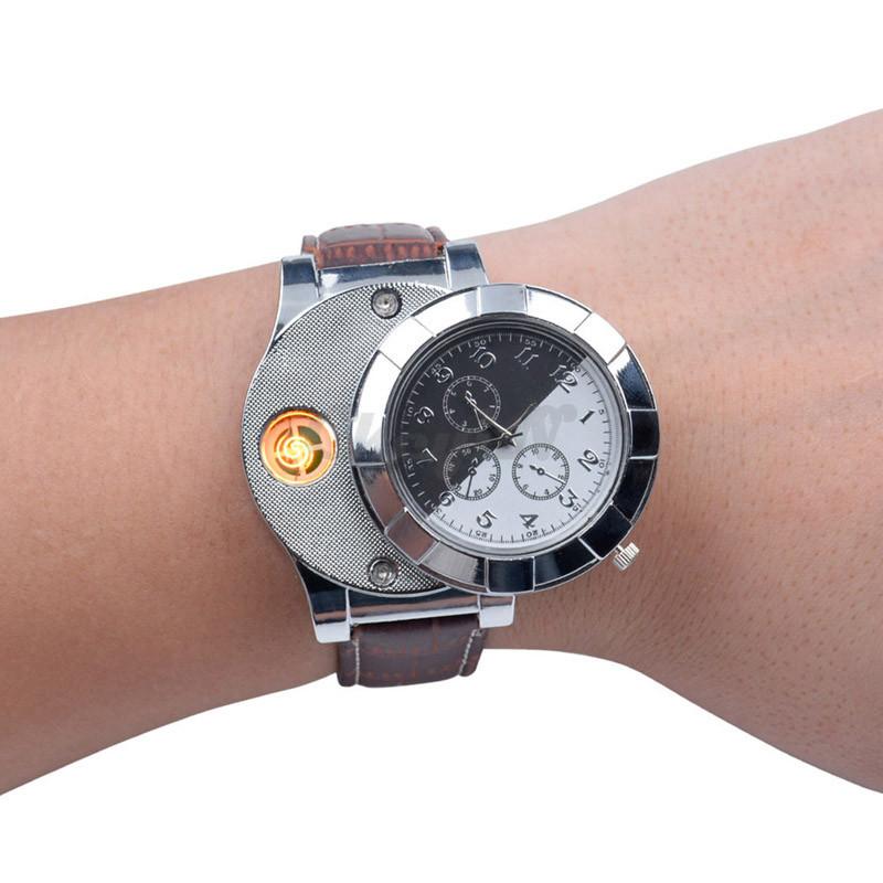 Moda F667 Akumulator USB Zapalniczki Zegarki Elektroniczne Bezpłomieniowe Zapalniczki Wiatroszczelna męska Casual Kwarcowe Zegarki Na Rękę 6
