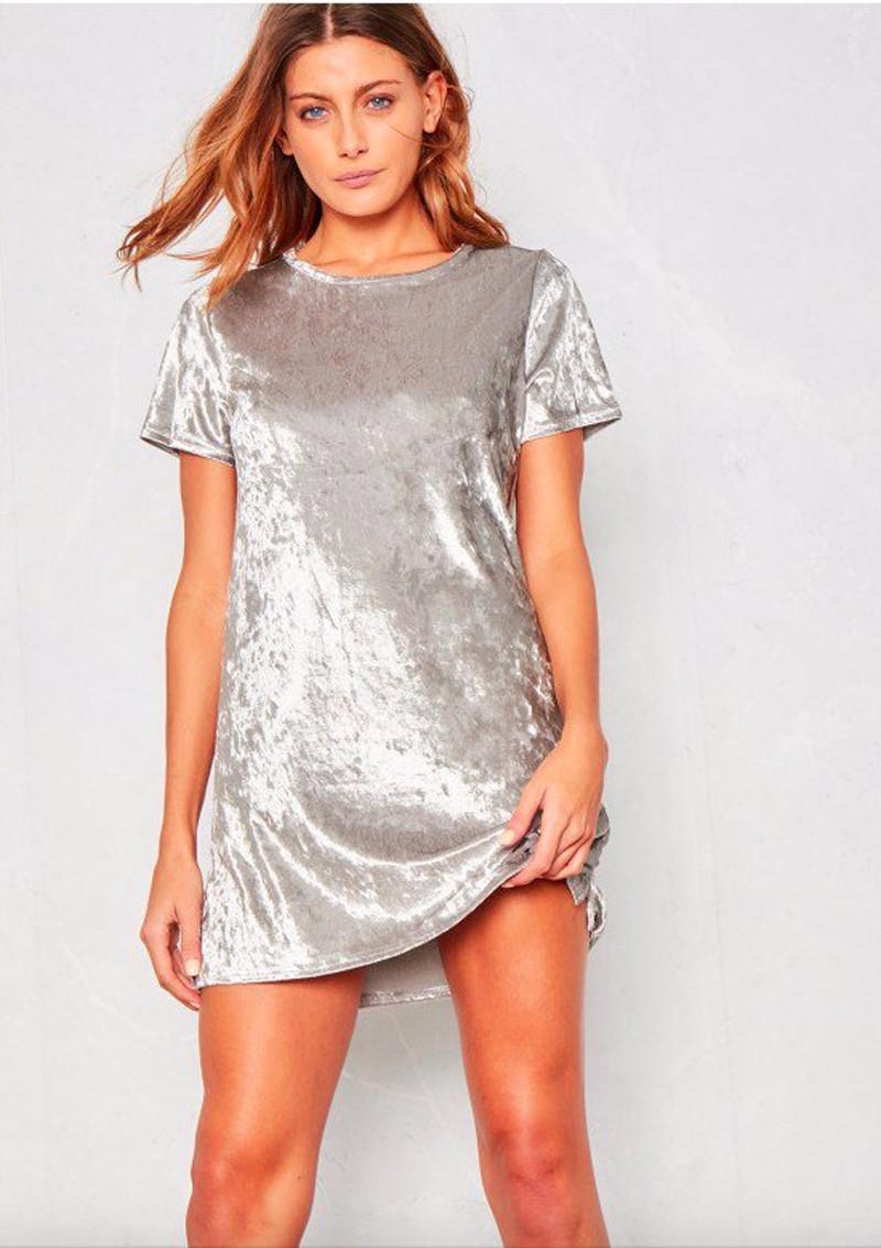 Short Sleeve Velvet Short Casual Dress 6
