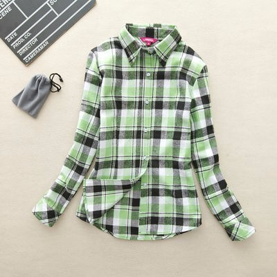 2017 hot sprzedaż jesień zima panie kobieta casual cotton lapel bluzka bluzki z długim rękawem kratę koszula kobiet szczupła odzieży wierzchniej clothing 20